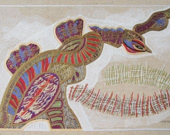 Bird Noh, textile collage