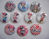 """minnie mouse 1"""" flatback buttons or button  pins set of 10  set item  11  mickey mouse"""