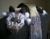Knitted scarf for women, Faux Fox Scarf, Funny Old Fox, Fluffy Snout and Green Eyes - Long (ready to ship)