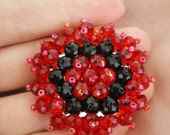 Brooch, Red and Black Beaded Brooch (ready to ship)