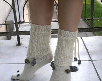 Handknit Wool Socks, Woolen Socks (made to order)