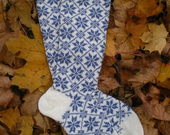 Kneelength Woolen Socks - Warm and Cosy, Snowflake Pattern (made to order)