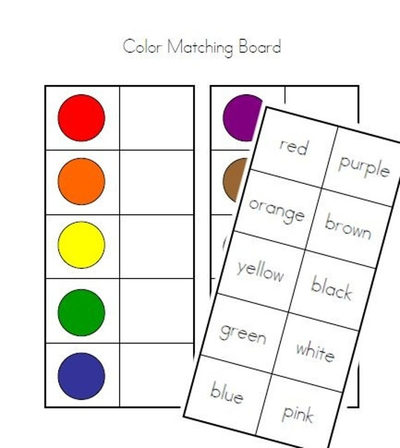 items similar to color matching board colors and color words math file folder game center on. Black Bedroom Furniture Sets. Home Design Ideas