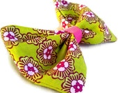 Green and Pink Flower Rockabilly Hair Bow