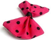 Rockabilly Hot PInk and Black Polka Dot HairBow