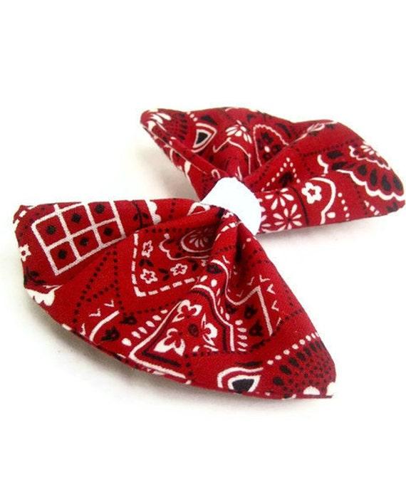 Rockabilly Red Bandana Hair Bow Clip
