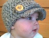 Crocheted Baby Newsboy Hat Cap boy girl size newborn, 0-3, 3-6, 6-12 months grey brown oatmeal white black cream Baby shower gift