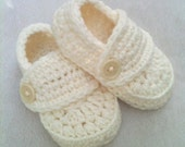 Cream Baby Boy Loafer Booties Off White Ivory for Baby Blessings Christenings Baptisms Weddings 0-3 3-6 6-9 9-12 mos Crocheted Church Shoes