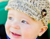 Crocheted Newsboy Hat Cap in Oatmeal size newborn, 0-3, 3-6, 6-12 months adorable new baby boy shower gift