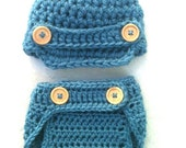 SALE Newborn Photography Prop: Crocheted Baby Boy Newsboy Hat Cap & Diaper Cover Set in Dusty Blue size 0-12 mos