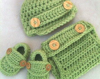 DELUXE Sweet Pea Green 3pc Set Newsboy Hat Diaper Cover & Loafer Booties Baby Boy Newborn 0-3 3-6 6-9 9-12 Cute Crocheted Photograpy Prop
