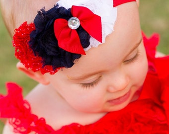 CLEARANCE American Baby Girl 4th of July Patriotic Princess Shabby Headband one size fits most baby toddler girl
