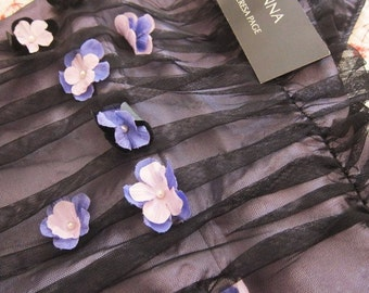 Vintage PROM  formal dress black ruched tulle with violets NWT