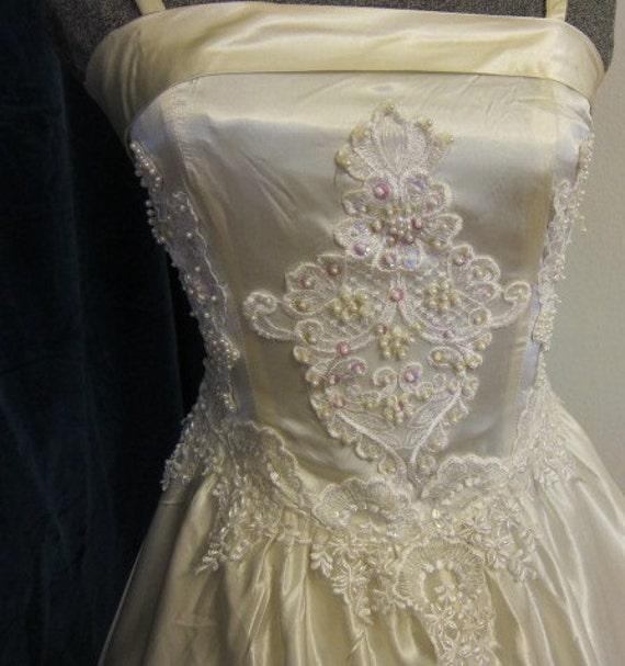 80s wedding or prom dress white satin.