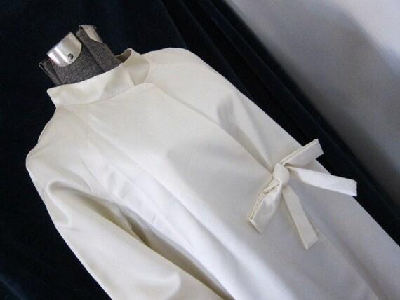 Satin vintage wedding coat,  60s 70s bride,  long white coat, alternative wedding, white satin coat,