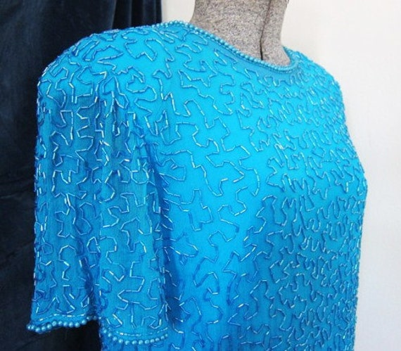 Large 80s beaded dress peacock power dressing