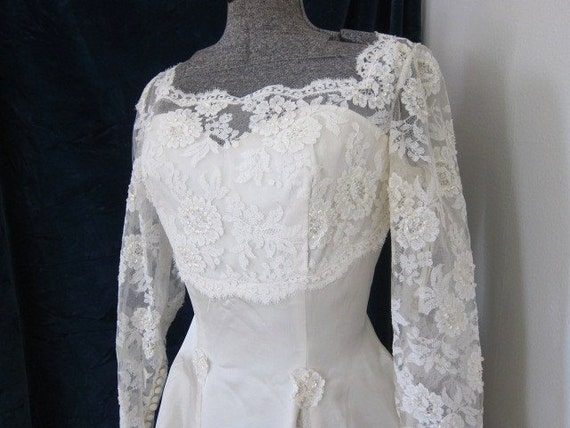 RESERVED for MEAGAN   Satin and lace vintage wedding dress 1970s