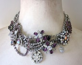 Statement Necklace Repurposed Rhinestone Collar, Bib, Multi Strand, Purple, Pink Rhinestones Silver OOAK Handmade Assemblage Jewelry