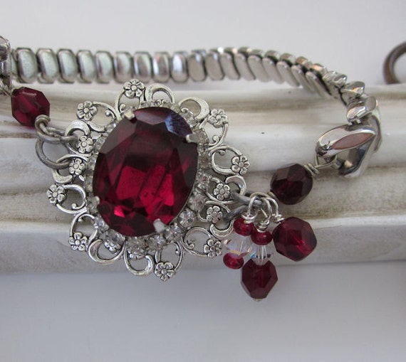 Vintage Ruby Red Rhinestone Beads Bracelet Silver Filigree, Expansion Watch Band OOAK Upcycled Fashion Jewelry by JryenDesigns
