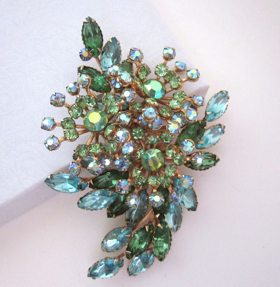 Large Dramatic Vintage Blue and Green Rhinestone Brooch / Pin - Flower, Spray Style - 1950s Jewelry