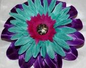 Purple, Teal & Pink Western Flower Clip