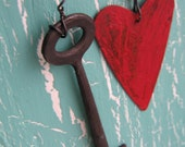 Home Decor Primitive Rusty Metal Key With Rusty tin Heart