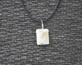 White Shell Bead Pendant wrapped in Silver wire (Design number 213)