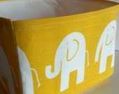 Yellow Baby Elephant Fabric Storage Bin - Medium