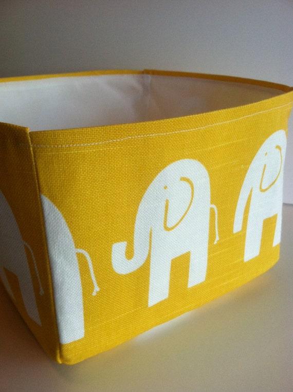 Yellow baby elephant fabric storage bin medium for Yellow baby fabric