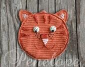 Orange Cat crochet - cat pot holder personalised