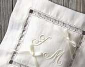 Traditional Italian Wedding Pillow Hand embroidered initials linen minimalist ivory