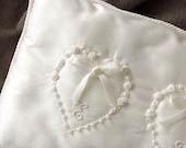 Wedding Pillow hand embroidered hearts initials shantung silk