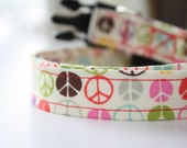 Dog Collar Peace Sign Print / White, Red, Pink, Brown, Blue, Grey, Green