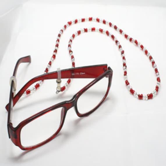 Red / Clear Beaded Eyeglass Holder