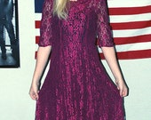 90's Wine Red Lace Dress