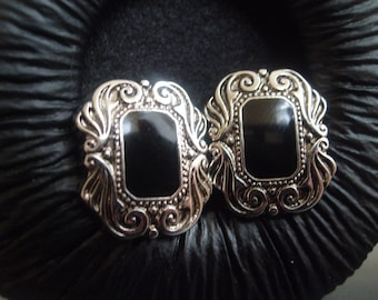 Vampire Black and Silver Earrings