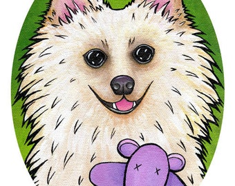 "Best Friends Portrait - A Pomeranian and his Hippo Print 5"" x 7"""