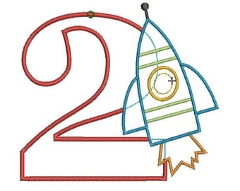 INSTANT DOWNLOAD, Machine Applique Design, Number Two with Rocket