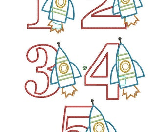 INSTANT DOWNLOAD, Machine Applique Design, Numbers 1-5 with Rocket