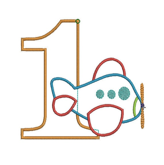 INSTANT DOWNLOAD, Machine Applique Design, Number One with Airplane