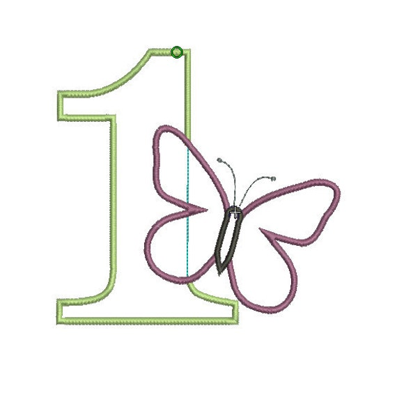 INSTANT DOWNLOAD, Machine Applique Design, Number One with Butterfly