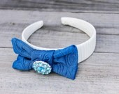 Headband White/Tan with Turquoise Hair Bow and Crystal Button