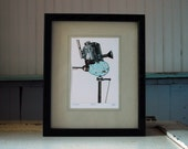 Egg Series no.2, Collage,Framed  limited edition Fine Art Print, Robins Egg & Industrial Machinical, Steampunk