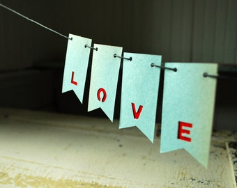 Love, Valentine's Day Garland, First Wedding Anniversary, Paper Banner