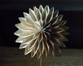 Book Blossom Paper Dahlia, Book Pages from The Notebook, Paper Anniversary, Origami Flower on a stem