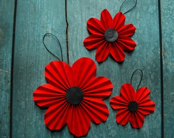 Red Poppy Ornaments, Paper Flowers, Red Posies, Origami Flower Ornaments