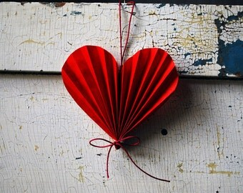 Valentine Heart, Paper Anniversary Wedding Gift,  Red Paper Ornament