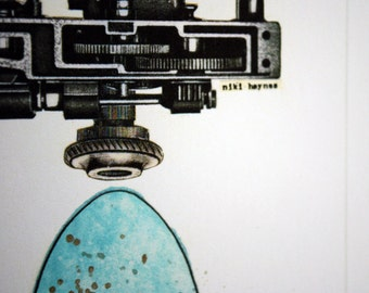 Egg Series no.9, Collage, limited edition Fine Art Print, Easter Egg Art, Robins Egg & Industrial, Mechanical, Machinery, Steampunk