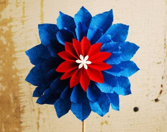 Paper Flower, Red White & Blue Dahlia, Bastille Day, Father's Day, Independence Day, 4th of July, Origami Flower on a stem