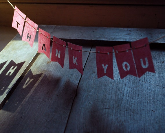Thank You, Father's Day Gift, Petite Pink Paper Banner